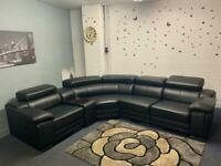 Pending Beautiful Black leather Modern corner sofa delivery 🚚 sofa suite couch read!!
