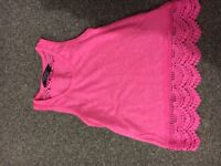 Girls pink top with crochet detail (age 2-3 years)