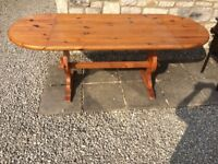 LARGE SOLID PINE WOOD TABLE DROP LEAF