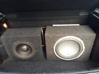 """12"""" 1000W Sub with amp + 10"""" Sub - both boxed"""