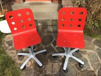 Two junior swivel chairs, adjustable height on wheel base
