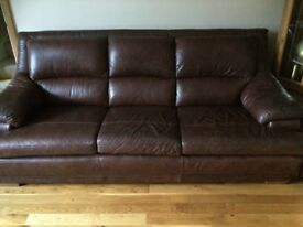 Laz-Boy 3 Seater - 2 Seater & Stool In Brown Leather