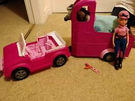 Doll jeep and trailer with horse and doll included