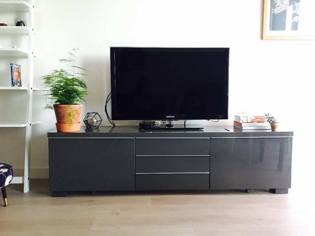 Tv Media Unit Stand Grey Gloss Finish With Drawers Ikea Besta  # Ikea Meuble Tv Besta