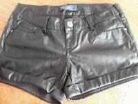 Denim Leather shorts