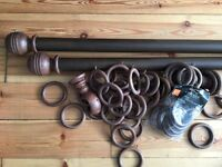 Large Wooden Curtain Pole with wooden pole rings, etc max length 126in
