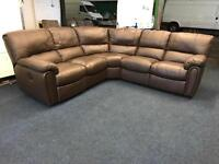 Littlewoods Leighton real brown leather electric power Recliner Corner Sofa 5-6 seat brown chocolate