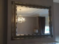 Mirror- wood frame in pewter/ silver colour