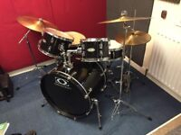 DrumCraft 5piece drum kit with cymbals and hardware +silencer pads for all kit.