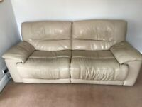 2 x Cream Electric Recliner Leather Sofas from Furniture Village (3 seater and 2 seater)