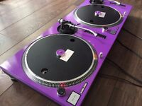 2 x Technics 1210 MK2 Turntables With Custom Purple Covers & 45 Adapters! *Accept PayPal & Post*