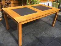 Solid Oak Dining Table With Slate Inserts.