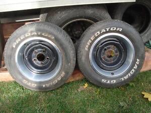 """2- GM rims 5X115 14"""" Black Steel Wheels with rings"""