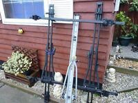 ROOF BARS TO FIT MOST CARS WITH ROOF RAILS, COMPLETE WITH 3 BIKE RACKS, EXCELLENT, BARGAIN £40