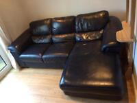 2/3 seater sofa leather corner chaise longue