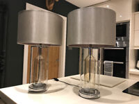 NEW PAIR Designer Grey Silver Shade Glass Bottle Chrome Table Side Lamps Bedside Lights RRP £199.95