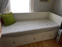 Ikea Hemnes day bed/ sofa bed - white. Two nearly new mattresses.