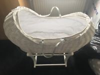 Mothercare Moses basket and stand. White. With bedding. Like new condition.