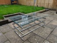 Glass and chrome finish coffee table and nest of tables set