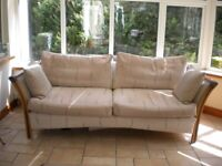 CONSERVATORY UPHOLSTERED RATTAN SOFA, CHAIR & FOOTSTOOL - EX JOHN LEWIS £95