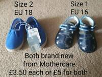 Mothercare baby boy sandals and canvas summer shoes size 1 and size 2, new