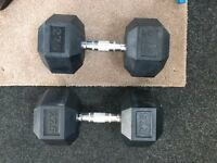 DKN Cast Iron Rubber Encased Hex 27.5kg Weights Hexagonal Dumbbells Single & Set