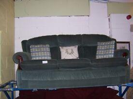 Green 3 seater sofa at Cambridge Re-Use (cambridge reuse)