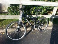 mountain bike, 24 speed, front disc brake, downhill forks, full suspension
