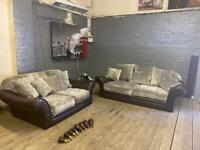 LEATHER SOFA SET WITH GREY FABRIC CUSHIONS IN EXCELLENT CONDITION
