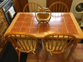 Tiled Dining Table and Four Chairs - Excellent Condition