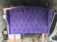 Purple Suede Headboard and Base