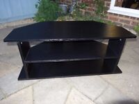 large corner TV entertainment unit, Black wood effect.