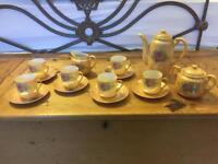 Original vintage coffee set 6 cups/saucers, cream jug, sugar, and coffee pot