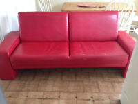 Double Sofa Bed Red Couch Sleeper Convertible Settee Faux Leather (PLEASE READ)