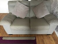 2x 2 seater grey leather settees