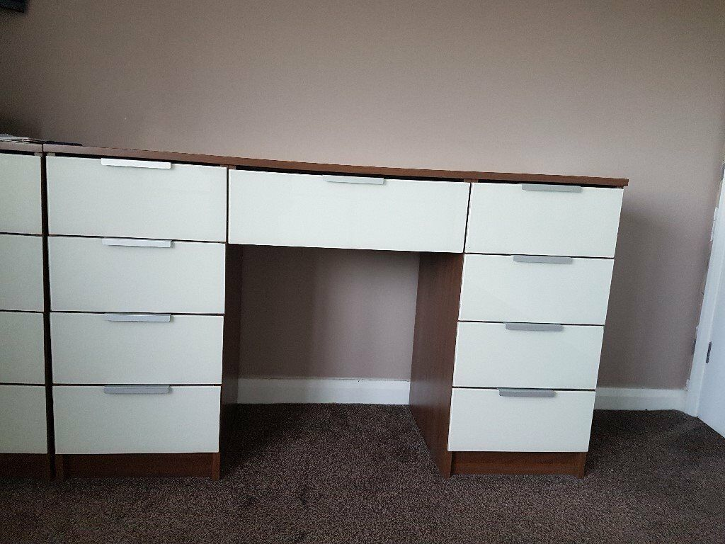 Dressing table and chest of drawers with beautiful white glass drawer fronts