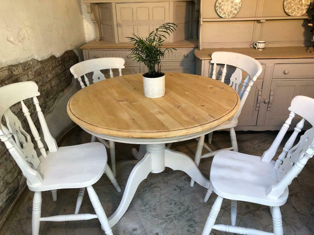 Awesome Vintage Pine Farmhouse Kitchen Dining Table And Chairs Antique White In Bournemouth Dorset Gumtree Beatyapartments Chair Design Images Beatyapartmentscom