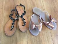 Two Pairs of Sandals Nine West and Melissa Size 4