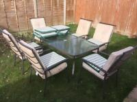 GARDEN FURNITURE SET TABLE AND 6 CHAIRS. CAN DELIVER.