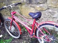 mountain bike in pink colour - needs some tlc