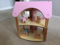 Wooden painted Girls dolls house