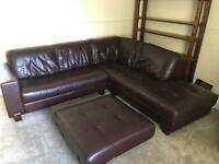 Large corner leather sofa + foot stool