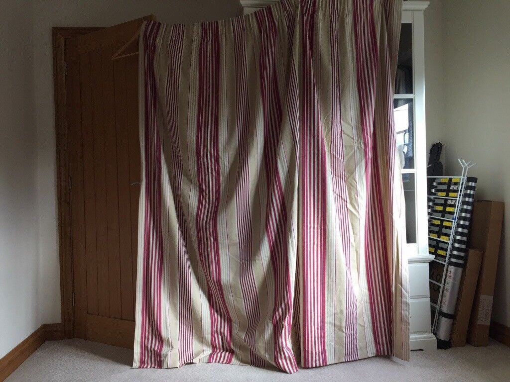 Laura Ashley Pencil Pleat Awning Stripe Pale Cranberry