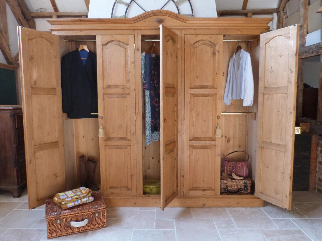 Large rustic pine knockdown 5 door hanging wardrobe ...
