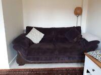 Chocolate brown fabric sofa