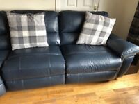 Leather manual reclining 2 seater sette