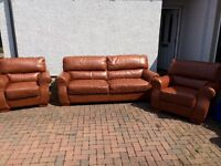 Brown Leather 3 seater sofa and 2 armchairs harvey's furniture Elbridge model