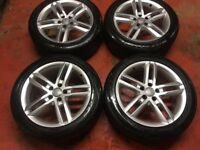 18'' GENUINE AUDI A6 S LINE 5 DOUBLE SPOKE ALLOY WHEELS TYRES 5X112 A4 B8