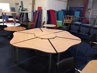 Second hand Used Call Centre Pod of 6 desks, beech, cheap