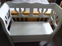 Monks bench with storage compartment painted in Tabby cat grey